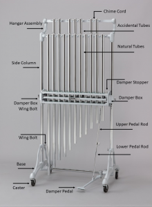 "Photo of chimes or ""tubular bells"" with specific elements indicated and annotated."