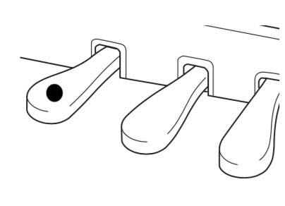 Drawing of piano pedals with a dot to indicate the left pedal and not the center or right pedal.