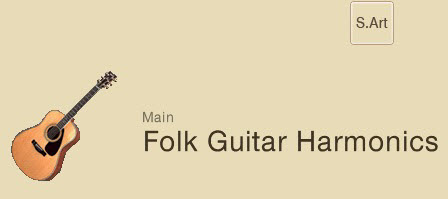 "Screenshot showing a drawing of an acoustic guitar and the words ""Main Folk Guitar Harmonics"". In upper right corner is a small square indicating ""S.Art""."