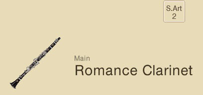 "Screenshot with drawing of a clarinet and the words ""Main Romance Clarinet"". In upper right is a small square with ""S.Art 2""."