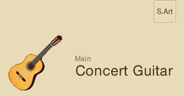 "Screenshot of category showing a drawing of an acoustic guitar and the words ""Main Concert Guitar"". In upper right is a small box with the letters ""S.Art"" to indicate this is a super articulation."