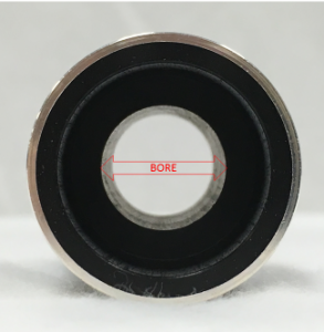 "View of a cylinder with metallic coating and lining. A graphic has been imposed to show that ""bore"" is measured from interior lining edge to edge."