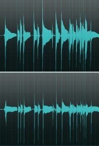 Two sets of sound wave graphics.