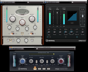Screenshot of three compressor plug-ins.