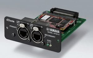 Closeup of the audio interface card hardware with controls on front and remainder to be inserted into hardware.