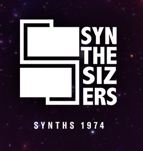 """A stylized graphic with the word """"Synthesizers"""" included. Below graphic are the text """"Synths 1974""""."""