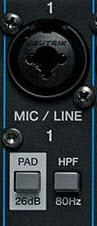 Close up of mic input and pad button.