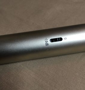 Closeup of microphone pad switch.