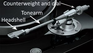 Closeup of a turntable tonearm with arrows and text to indicate specific elements.