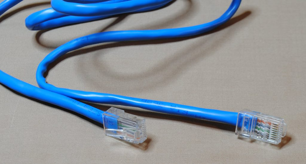 Audio cable with rectangular plug ends.