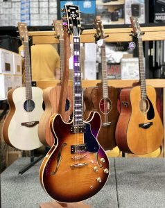 Mix of acoustic and electric guitars in stands.