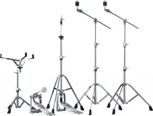 Drum hardware set with cymbal stands, hi-hat stands, foot pedals and snare stands.