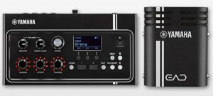 Closeups of the EAD10 acoustic electronic drum module with the control panel and the side view with branding.