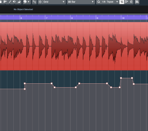 Screenshot of Cubase software showing automated volume changes on an audio track.