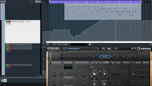 Automation curve on MIDI track in Cubase software.