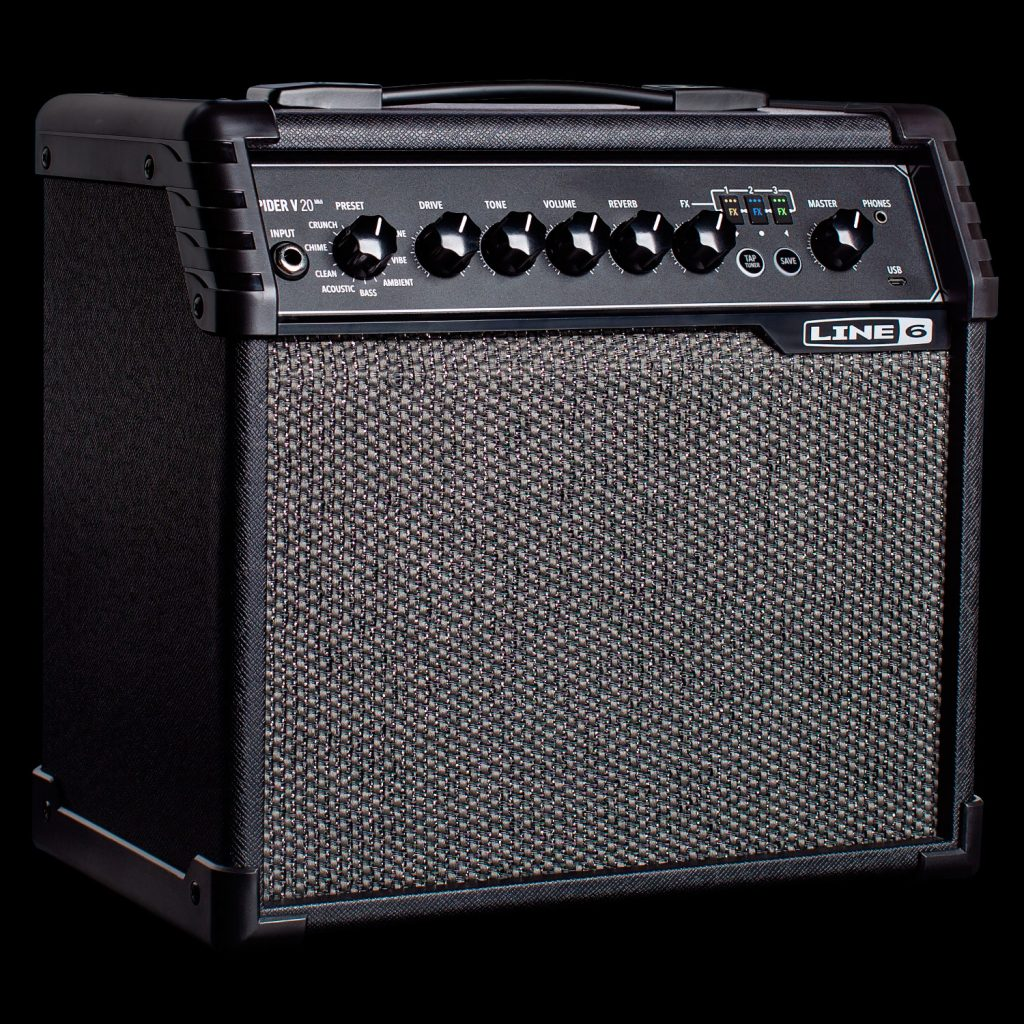 Rectangular guitar amplifier with row of knobs and inputs along top front edge.