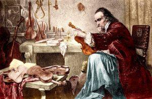 Illustration of Antonio Stradivari examining a violin.