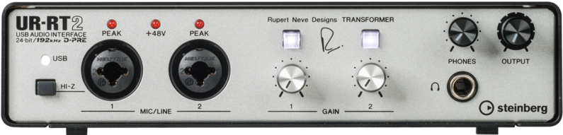 Rectangular audio interface with series of inputs, outputs, and knobs.