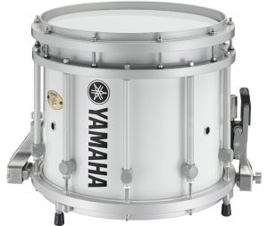 A silver Yamaha marching snare drum.