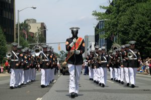 Marine band participating in Memorial Day parade.