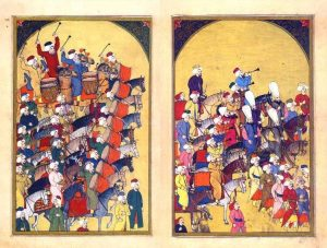 Miniature painting depicting an Ottoman military marching band.