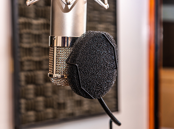 Recording microphone with a pop filter in a studio with intentional shallow depth of field.