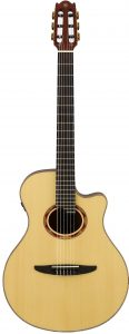 Light wooden, nylon string guitar.