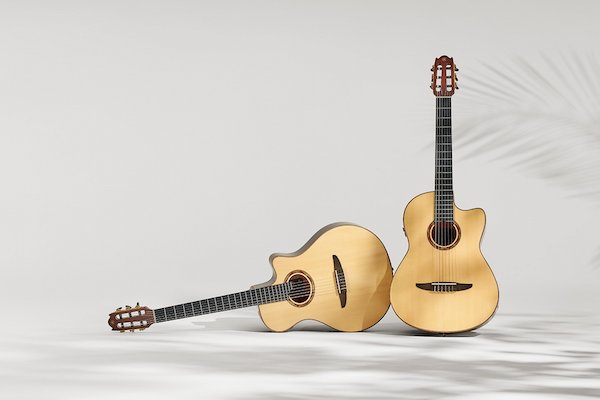 Two acoustic wooden guitars on grey backdrop with leafy shadows.