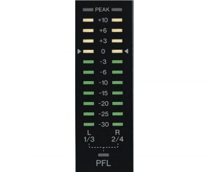 PFL channel's input level indicated on the main meter with LED lights.