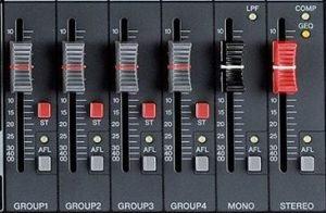AFL function shown for the aux, subgroup, mono, and stereo masters.