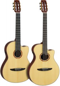Two spruce acoustic-electric guitars.