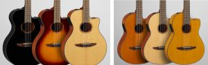 Two sets of 3 acoustic guitars.