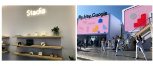 Composite of two images showing Google's presentation and display at CES 2020.