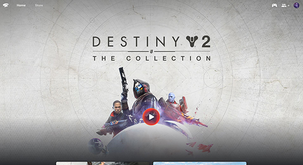 Destiny 2 shown on Google Stadia home screen.