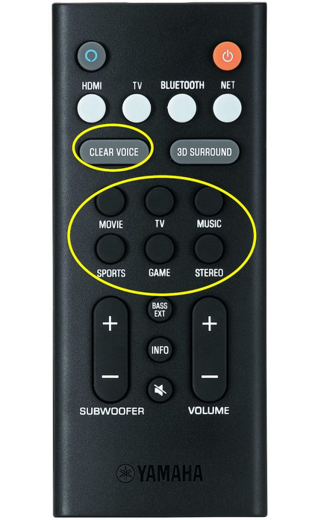 MODE buttons on a Yamaha YAS-209 remote.