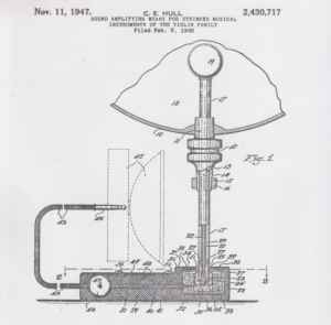 Patent drawing for a bass pickup, credited to C. E. Hull