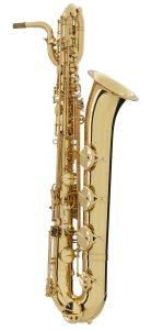 Intermediate baritone saxophone.