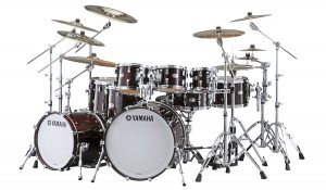 Modern drum kit with Absolute Hybrid Maple toms.