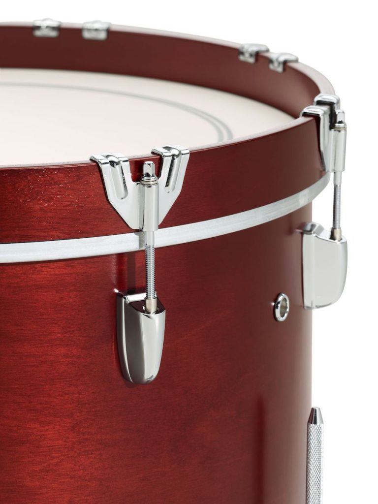 Close-up shot of bass drum with traditional claw hooks.