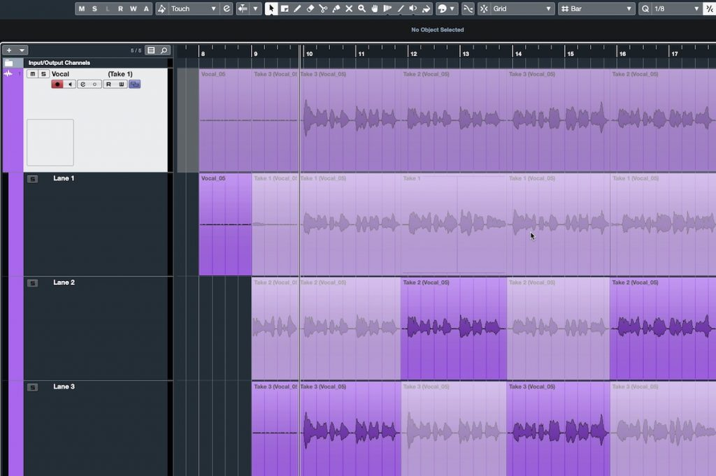 Screenshot of Steinberg Cubase software showing various vocal tracks comped.