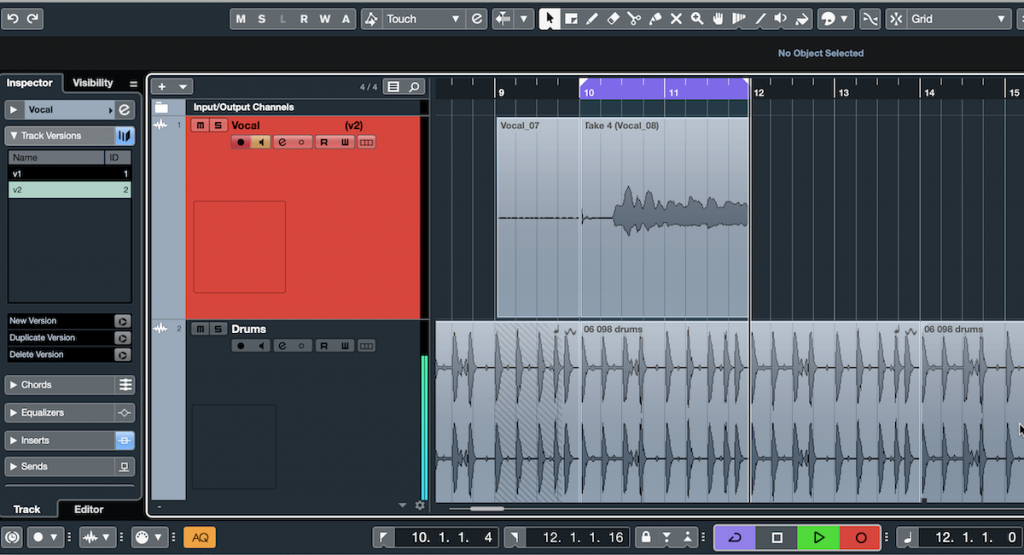 Screenshot of Steinberg Cubase software showing Cycle Recording feature.