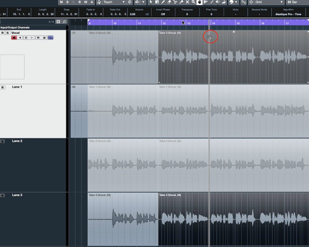 "Screenshot of Steinberg Cubase software showing the ""Split Tool""."