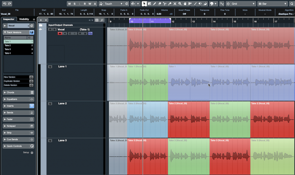 Screenshot of Steinberg Cubase software with color-coded takes.