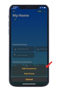 """Screenshot of Apple Home app showing """"add accessory"""" button."""