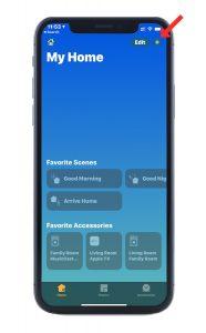 Screenshot of Apple Home app's main screen.