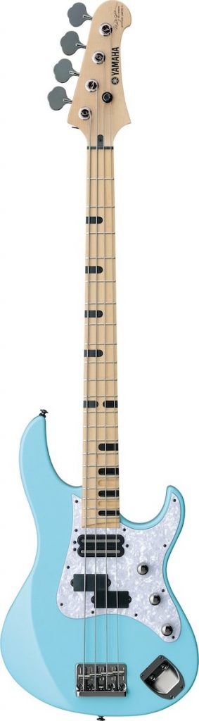 Light blue electric bass.