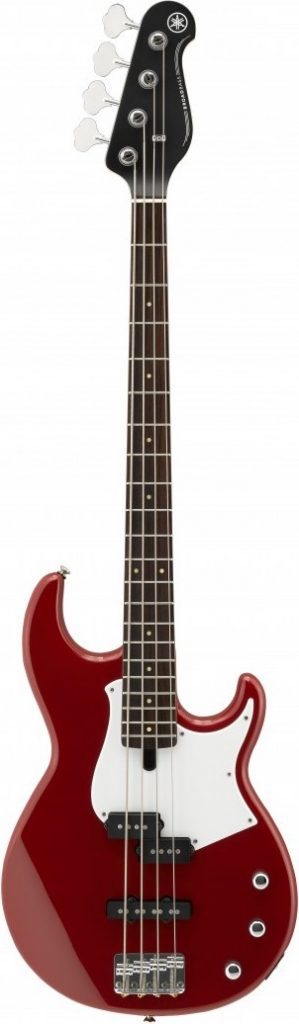 Bass guitar with solid alder body.