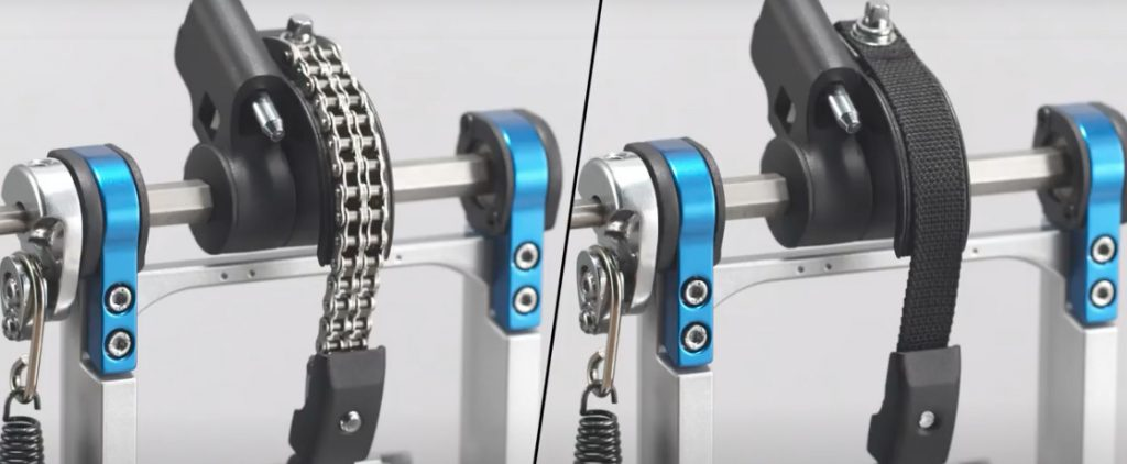Drum pedal comparison with one pedal having a chain drive and the other pedal having a belt drive.