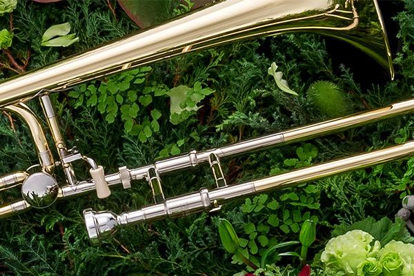 Trombone laying on grass.