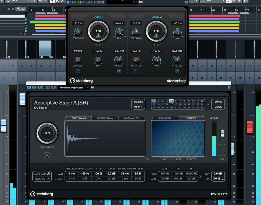 Screenshot of Steinberg Cubase with reverb and delay controls open.